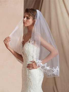 One-Layer Appliques Elbow Wedding Veil