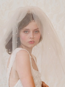 Diamonds One-Layer Cut Edge Short Wedding Veil 2019