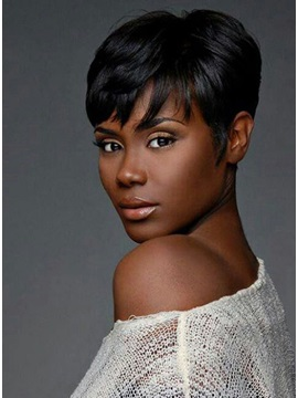 Custom 100% Remy Human Hair Short Straight Daily Wear Wig about 6 Inches