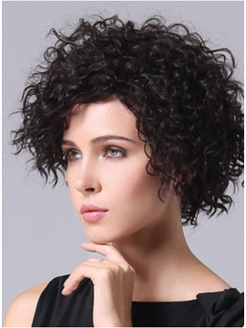 New Short Capless Curly Hair Wig 100% Remy Human Hair