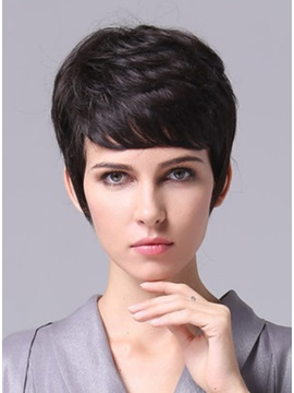Custom Cool Short Straight Remy Human Hair Wig