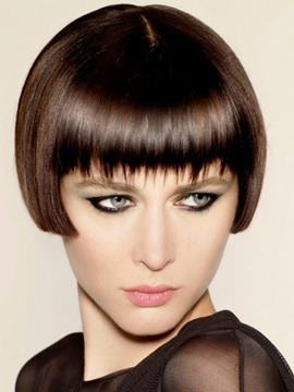 Short Straight 100% Human Hair Full Lace Wigs