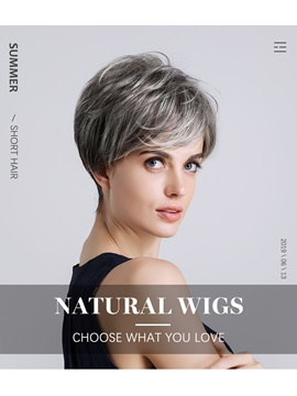Fashion Color Women's Natural Straight High Density Human Hair Blend Rose Capless Wigs 8Inches