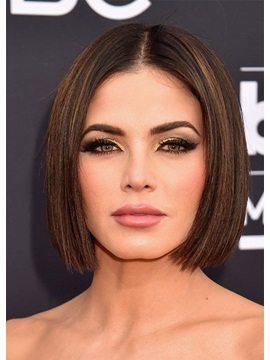 Short Bob Hairstyles Women's Mid-Part Silk Straight 100% Human Hair Wigs Lace Front Wigs 12Inch
