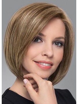 Women's Short Bob Hairstyles Blonde Straight 100% Human Hair Wigs Lace Front Wigs 12Inch