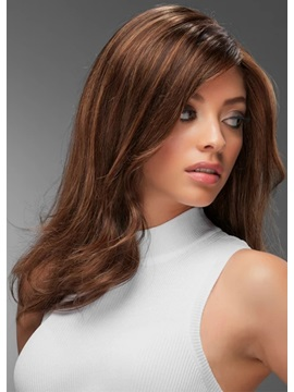 Women's Luxurious Layers Stunning Long Hairstyle Wavy 100% Human Hair Lace Front Cap Wigs 16Inch