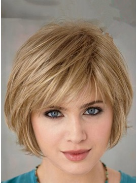 Custom Short Straight 100% Human Hair Wig about 8 Inches