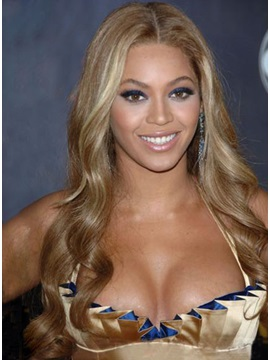 Graceful Custom Beyonce Knowles Hairstyle Front Lace Long Curly 100% Human Hair Wig 24 Inches