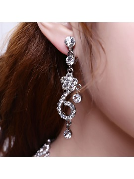Exquisite Rhinestone Wedding Jewelry Set (Including Earrings and Necklace)