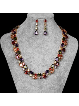 Water Drop Gemmed Necklace Jewelry Sets (Wedding)