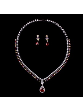 European Heart-Shaped Gemmed Jewelry Sets (Wedding)