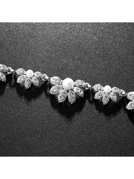 Floral Necklace E-Plating Jewelry Sets (Wedding)