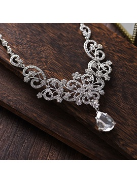 Necklace Earrings Floral Rhinestone Wedding Jewelry Sets