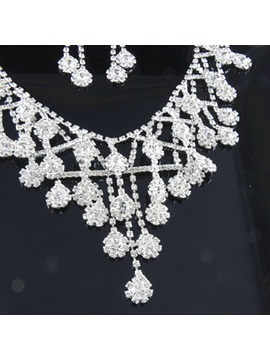 Floral Diamante Earrings Jewelry Sets (Wedding)