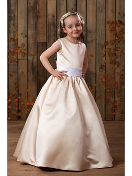 Simple Straps Sashes Matte Satin Flower Girl Dress