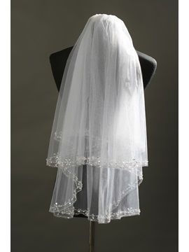 Delicate Elbow Tull Wedding Bridal Veil with Beads