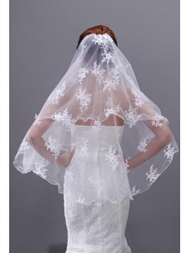 Brilliant Fingertip Wedding Veil with Flowers