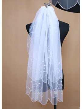 Elbow Two-tier Wedding Veil With Beaded Edge