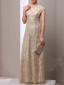 Attractive A-Line V-Neck Lace Sequins Floor Length Charming Mother Dress