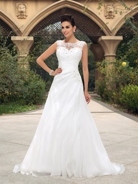 Beaded Lace Bateau Neck Ruched Wedding Dress