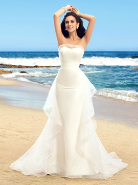 Dazzling Strapless Ruffles Tulle Ivory Mermaid Wedding Dress