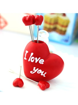 Personality Cute Red Sweetheart Fruit Fork