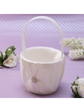 Classic Flower Basket in Satin With Rhinestone