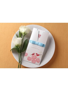 Wrap & Pocket Wedding Invitation Cards With Ribbons (20 Pieces One Set)