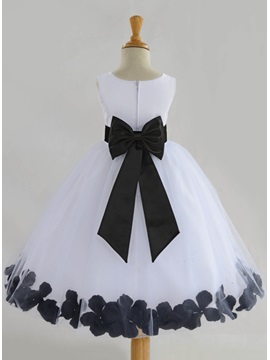 Floral A-Line Flower Girl Dress with Bowknot Sash