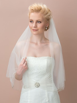 Concise Plain Ivory Tulle Bridal Veil