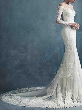 Sheer Neck Long Sleeves Mermaid Lace Wedding Dress