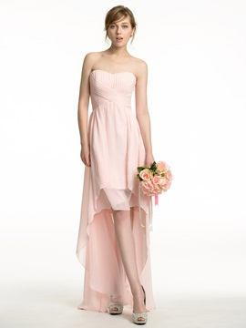 Ruched Sweetheart High Low Chiffon Bridesmaid Dress