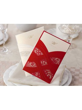 Cheap Red Wedding Invitation Cards (20 Pieces One Set)