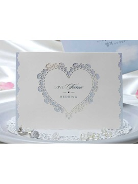 Heart Cut-out White Wedding Invitations (20 Pieces One Set)