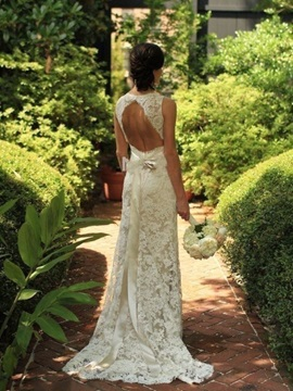 Backless Lace Beach Wedding Dress with Sashes