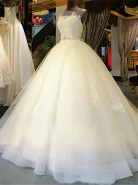 Ivory Layered Tulle Princess Ball Gown Wedding Dress
