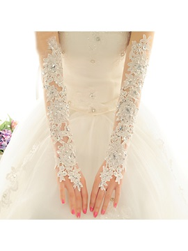 Long Beaded Lace Fingerless Wedding Gloves