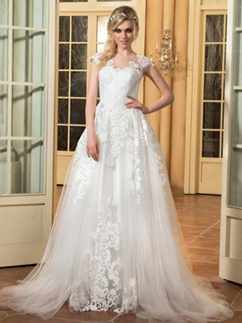 Charming Scoop Neck Floor Length A Line Wedding Dress