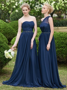 High Quality Strapless Beading Long Bridesmaid Dress