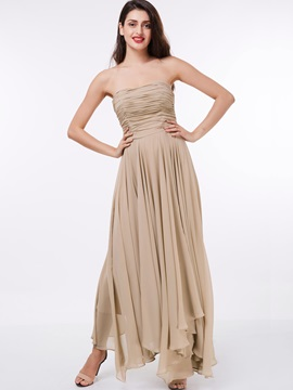 Casual Straples Ruched Asymmetrical Evening Dress