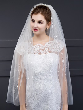 Elegant Beaded Flower Wedding Veil