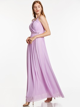 Straps Sleeveless Pleats Beaded Ankle-Length Evening Dress