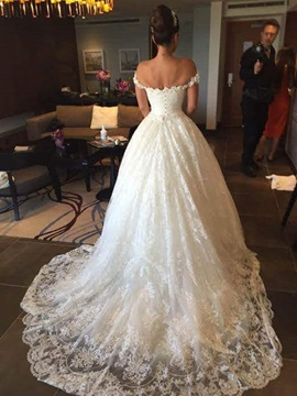 Off the Shoulder Sequined Lace Appliques Wedding Dress