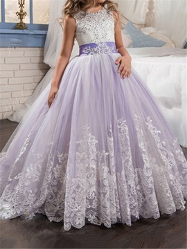 Amazing Straps Appliques Beading Lace-Up Flower Girl Dress