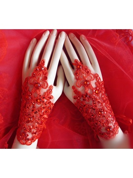 Splendid Appliques Red Fingerless Gloves with Sequins
