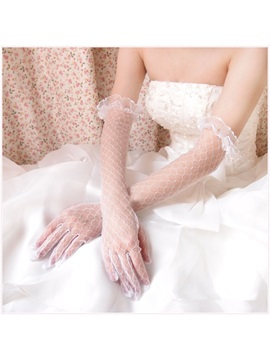 Transparent Yarn Lace Ruffles Full Fingered Gloves