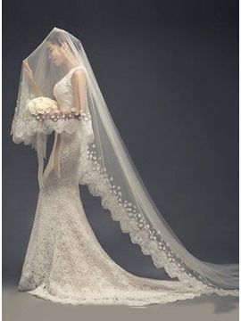 Fancy Appliques Edge Wedding Cathedral Veil