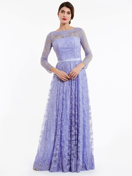 Elegant Bateau Neck Backless A Line Lace Evening Dress