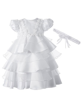 Appliques Tiered Baby Girl's Christening Gown