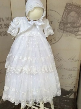 Short Sleeves Lace Girl's Christening Dress with Bonnet